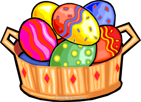 Easter eggs in a basket Royalty Free Vector Clip Art illustration vc029909