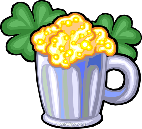 Mug of beer with clovers Royalty Free Vector Clip Art illustration vc029922