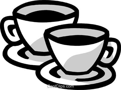 cups of coffee Royalty Free Vector Clip Art illustration vc029976
