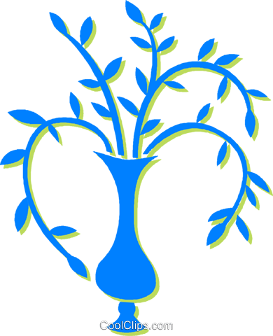 plant in a vase Royalty Free Vector Clip Art illustration vc030601