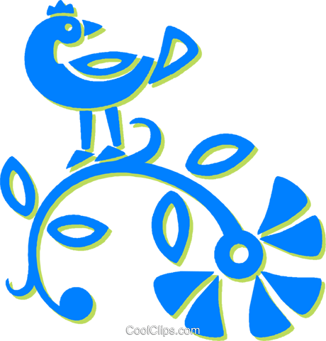 bird on a twig Royalty Free Vector Clip Art illustration vc030729