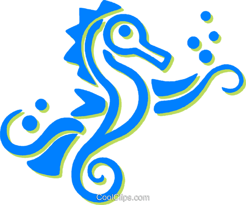 sea horses Royalty Free Vector Clip Art illustration vc030735