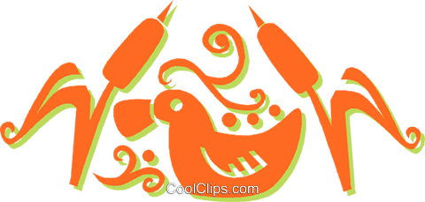 duck swimming in the cattails Royalty Free Vector Clip Art illustration vc031360