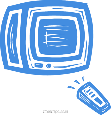 television with remote control Royalty Free Vector Clip Art illustration vc031595