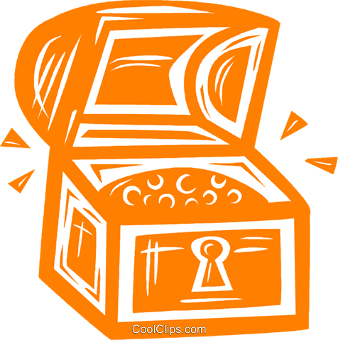 treasure chest Royalty Free Vector Clip Art illustration vc031632