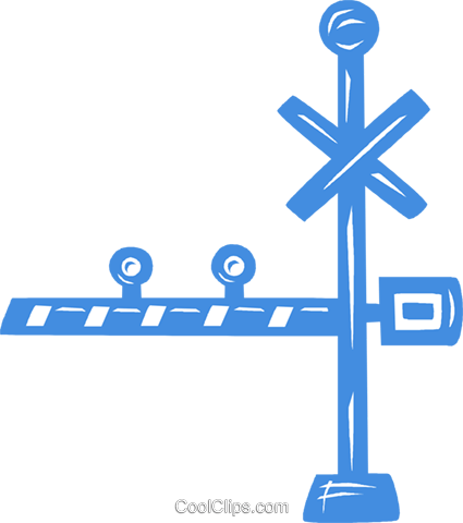 railway crossing Royalty Free Vector Clip Art illustration vc031745