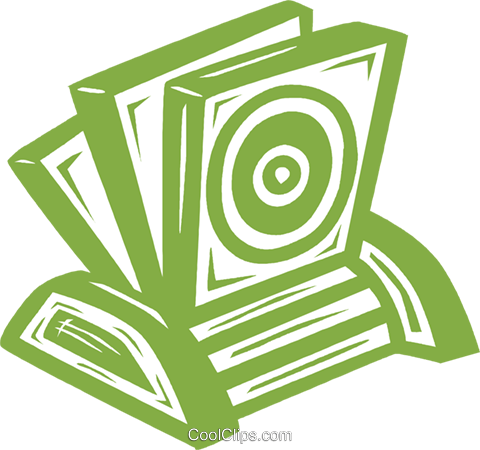 CD rom holder with CD's Royalty Free Vector Clip Art illustration vc031771