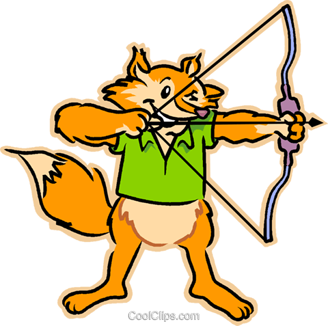 fox with a bow & arrow Royalty Free Vector Clip Art illustration vc031997
