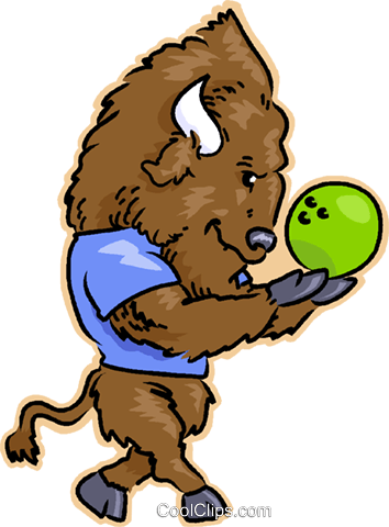 bison bowling Royalty Free Vector Clip Art illustration vc032000