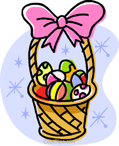 Easter basket filled with eggs Royalty Free Vector Clip Art illustration vc032018