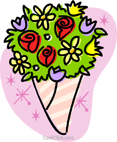 Wedding flowers/bouquet Royalty Free Vector Clip Art illustration vc032020