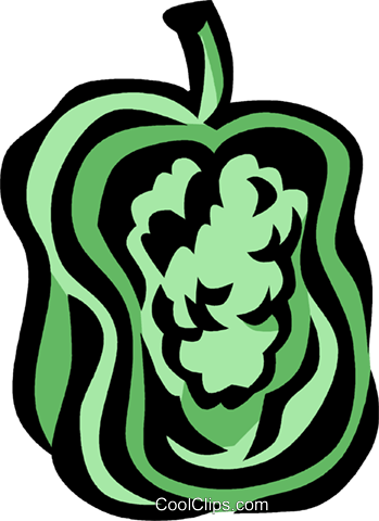 green pepper Royalty Free Vector Clip Art illustration vc032050