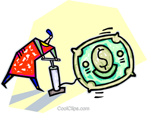 using an air pump to inflate a dolla Royalty Free Vector Clip Art illustration vc032239