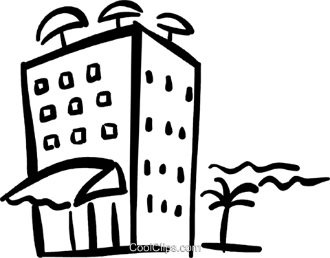 hotel on the beach Royalty Free Vector Clip Art illustration vc032420