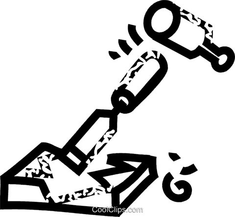 chisel and hammer Royalty Free Vector Clip Art illustration vc032792