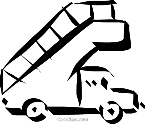 truck with stairs used at the airport Royalty Free Vector Clip Art illustration vc032902