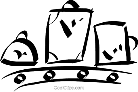 luggage on a conveyor belt Royalty Free Vector Clip Art illustration vc032921