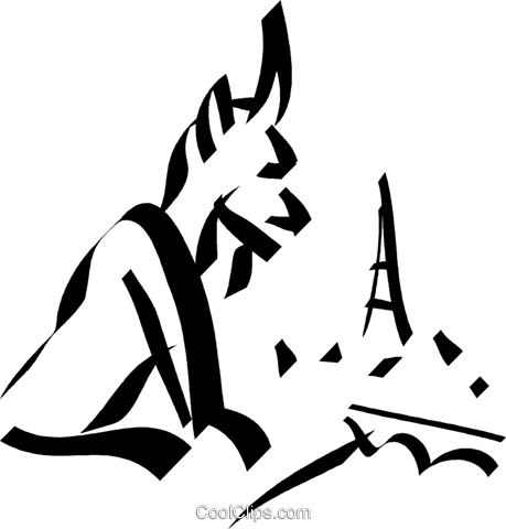 gargoyle overlooking the Eiffel tower Royalty Free Vector Clip Art illustration vc032970