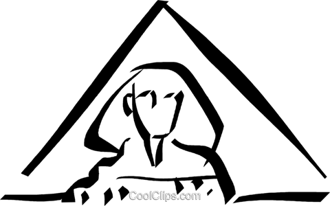Egyptian pyramid with a Sphinx Royalty Free Vector Clip Art illustration vc032987