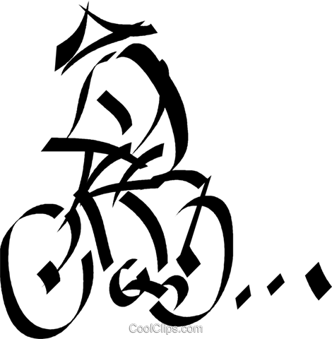 Japanese person on a bike Royalty Free Vector Clip Art illustration vc033059