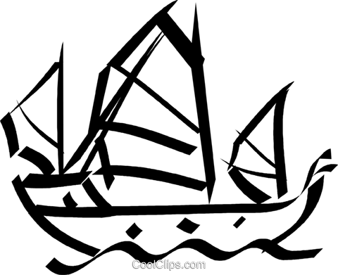 Chinese junk Royalty Free Vector Clip Art illustration vc033075