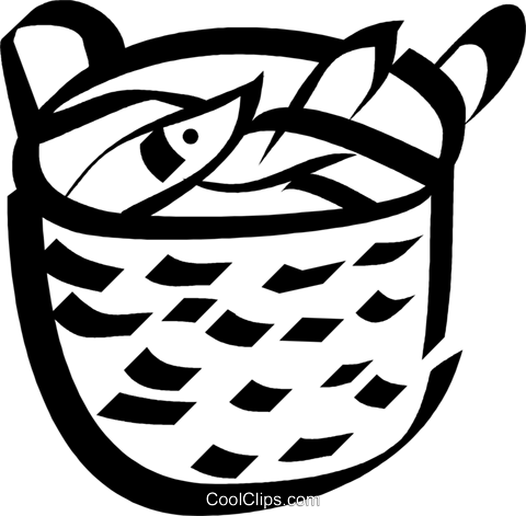basket of fish Royalty Free Vector Clip Art illustration vc033081