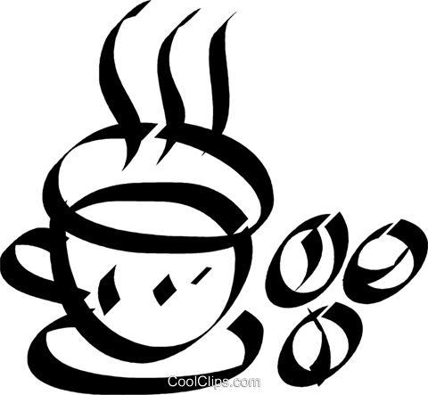 cup of coffee with coffee beans Royalty Free Vector Clip Art illustration vc033115