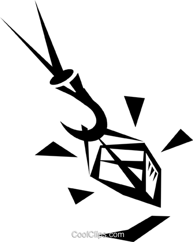 crane lifting crate Royalty Free Vector Clip Art illustration vc033279