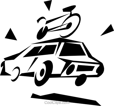car with a bicycle on the roof Royalty Free Vector Clip Art illustration vc033305