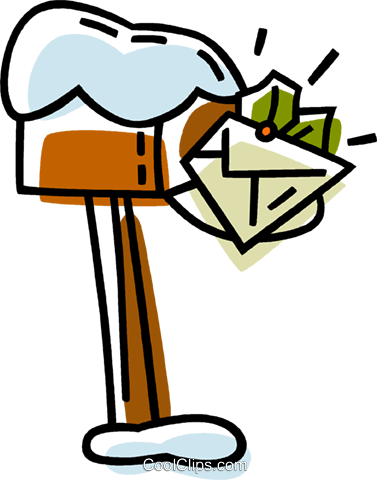 mail box with an envelope in it Royalty Free Vector Clip Art illustration vc033350