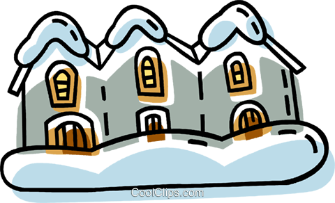 houses in a row after a snow fall Royalty Free Vector Clip Art illustration vc033351