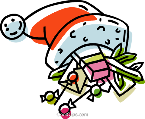 hat with Christmas gifts in it Royalty Free Vector Clip Art illustration vc033359