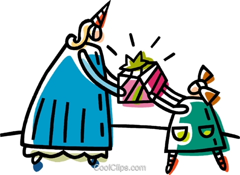 person giving a child a present Royalty Free Vector Clip Art illustration vc033369