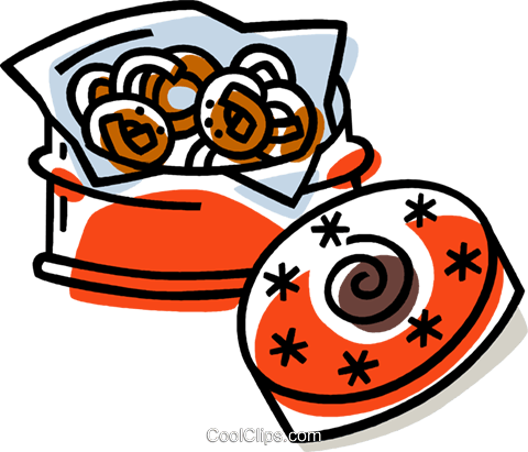 cookies in a cookie tin Royalty Free Vector Clip Art illustration vc033373