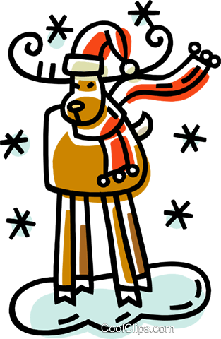 reindeer and snow Royalty Free Vector Clip Art illustration vc033378