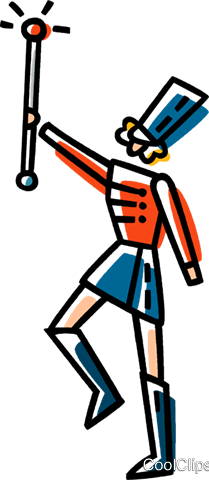 leader of a marching band Royalty Free Vector Clip Art illustration vc033424