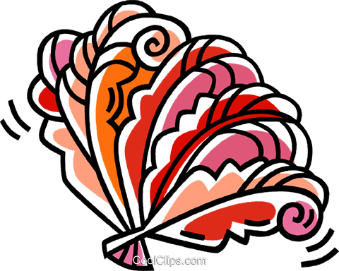 oriental hand fans Royalty Free Vector Clip Art illustration vc033460