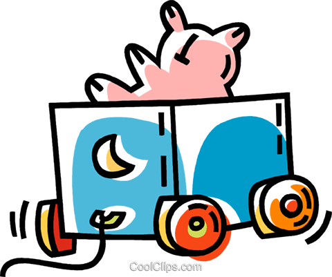 toy wagon Royalty Free Vector Clip Art illustration vc033487