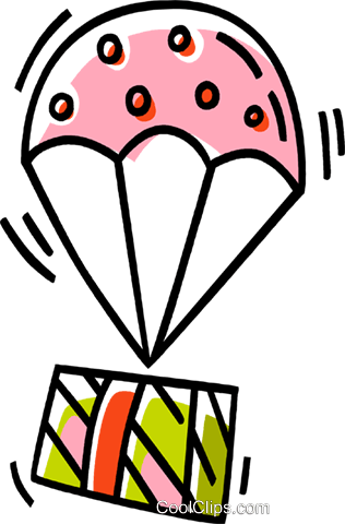 parachute with a present Royalty Free Vector Clip Art illustration vc033529