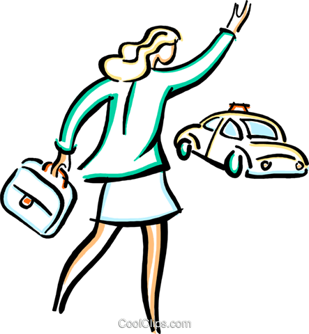 businesswomen hailing a cab Royalty Free Vector Clip Art illustration vc033581
