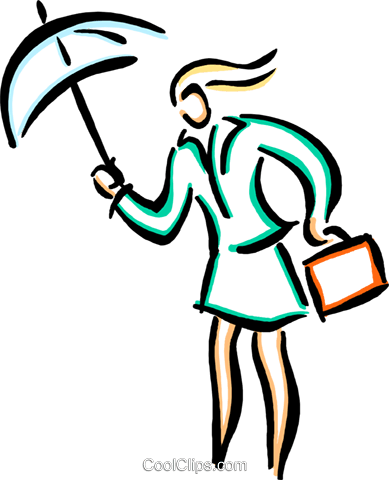 person with an umbrella Royalty Free Vector Clip Art illustration vc033586