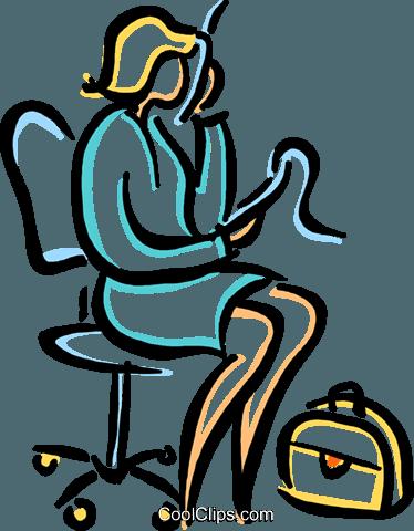 frau am telefon sitzt auf einem stuhl vektor clipart bild. Black Bedroom Furniture Sets. Home Design Ideas