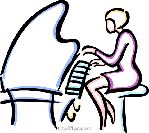 woman playing a piano Royalty Free Vector Clip Art illustration vc033596