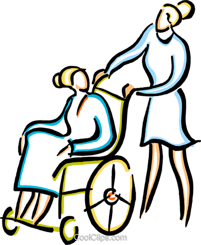 nurse with a person in a wheelchair Royalty Free Vector Clip Art illustration vc033606