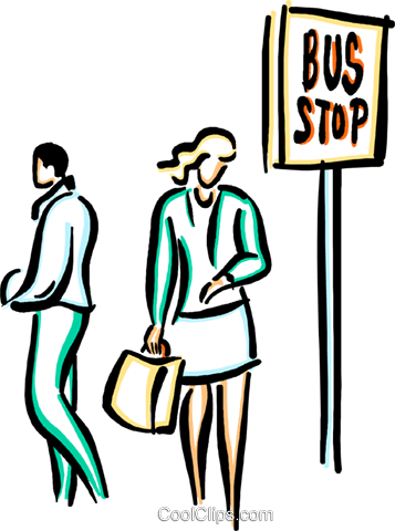 people waiting at the bus stop Royalty Free Vector Clip Art illustration vc033612