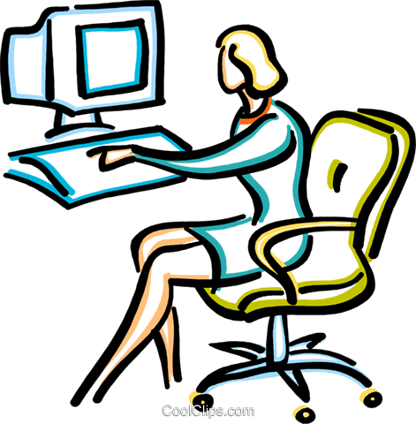 businesswoman working at the computer Royalty Free Vector Clip Art illustration vc033619