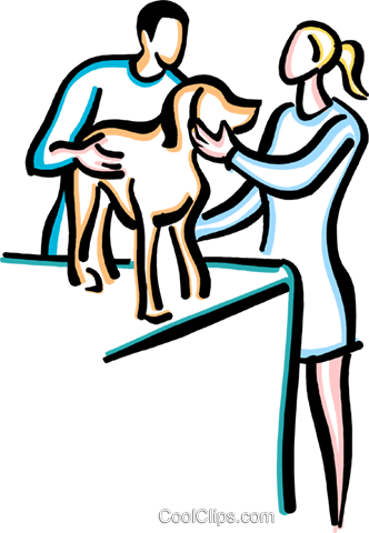 dog at the vet Royalty Free Vector Clip Art illustration vc033626