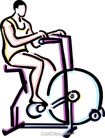 person riding a stationary bike Royalty Free Vector Clip Art illustration vc033628