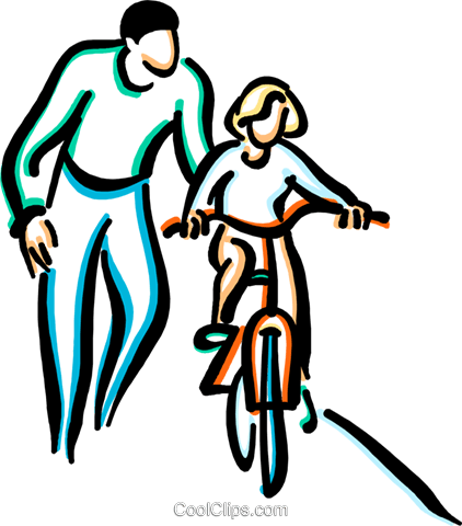 little girl learning to ride a bicycle Royalty Free Vector Clip Art illustration vc033629