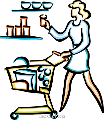 woman food shopping Royalty Free Vector Clip Art illustration vc033646